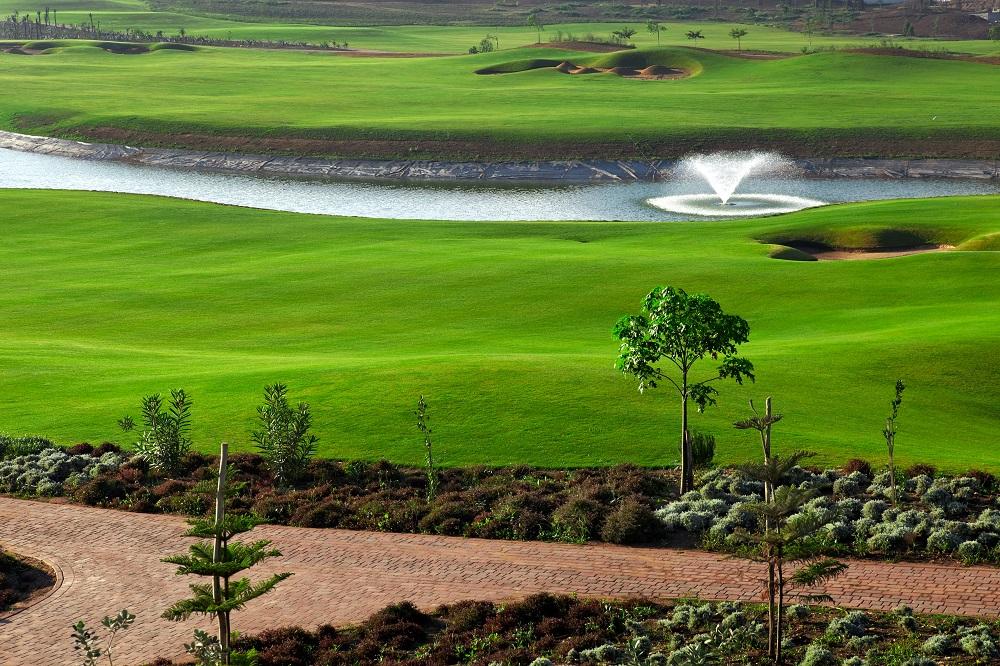 La fontaine du golf de Casa Green.