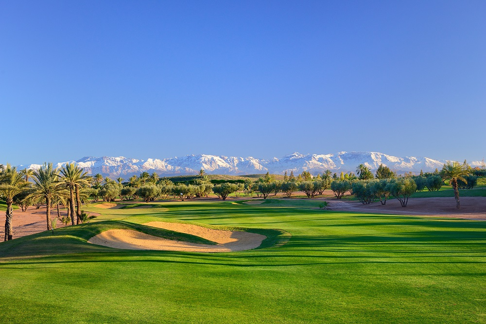 Le fairway et les palmiers du  golf d'Assoufid.