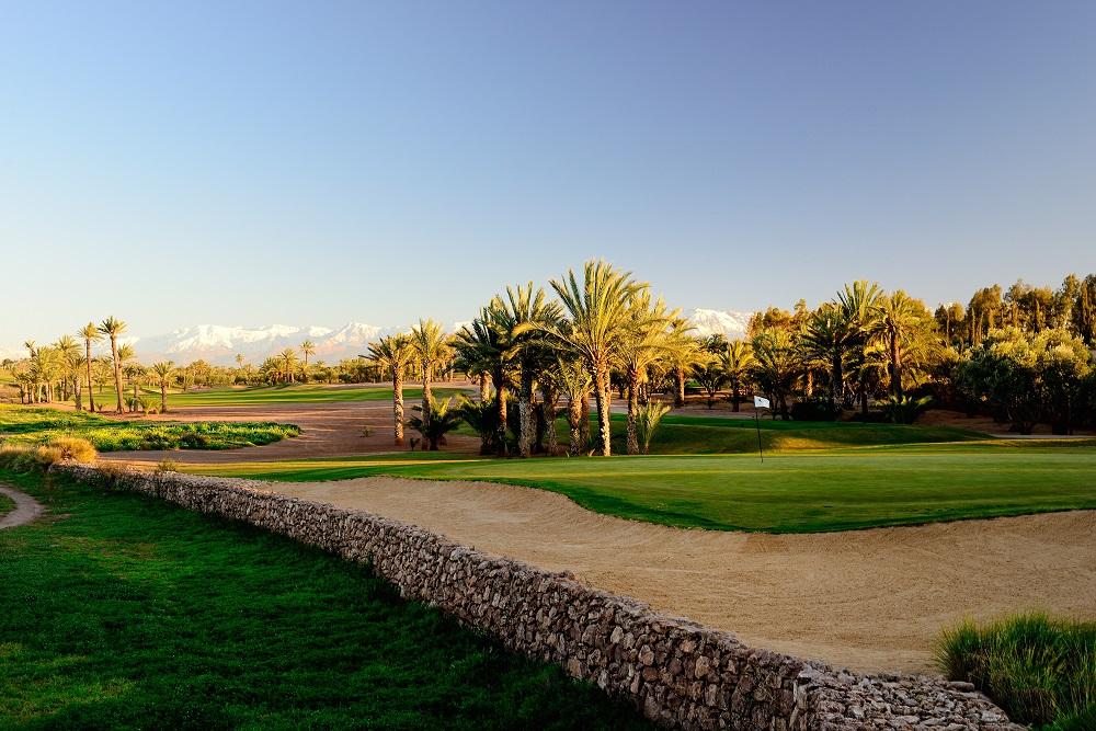 Bunker et palmier autour d'un green du golf d'Assoufid au Maroc