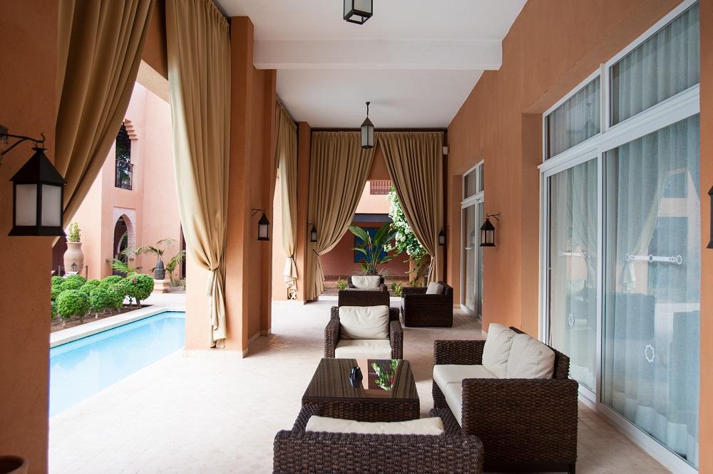 La terrasse de l'hôtel le Tikida.