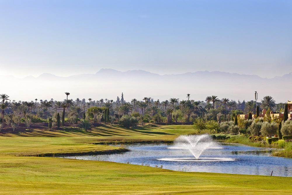 La fontaine du golf de la Palmeraie.