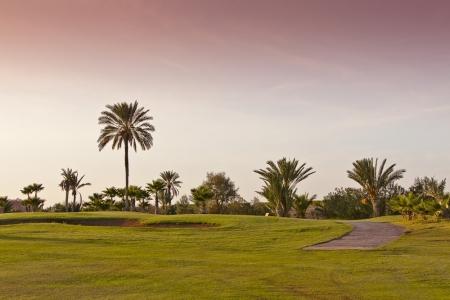 Coucher de soleil sur le golf Palmerai à Marrakech