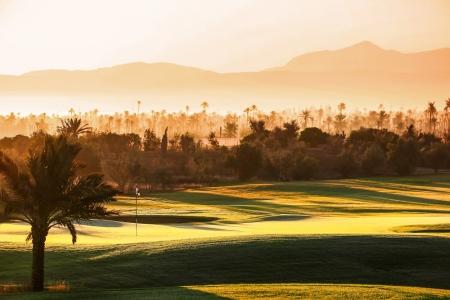 Coucher de soleil au Palm Golf Palmeraie Marrakech au Maroc
